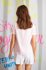Рожева піжама з верхом з короткими рукавами з 100% органічної бавовни