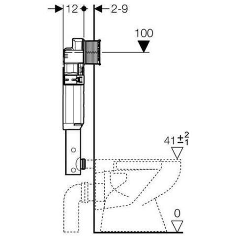 Смывной бачок скрытого монтажа, с фронтальным управлением, глубина 12 см,  Geberit  UP320 109.300.00.5 схема