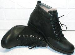 Модные мужские зимние ботинки на натуральном меху Luciano Bellini 6057-58K Black Leathers & Nubuk.