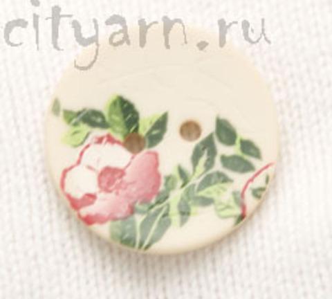 Пуговица с цветком шиповника, кремовая, 28 мм