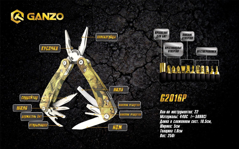 Мультитул Ganzo G2016-P, 105 мм, 22 функции, нейлоновый чехол