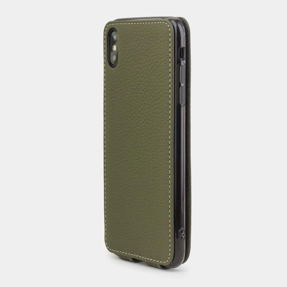 Чехол для iPhone XS Max из натуральной кожи теленка, зеленого цвета