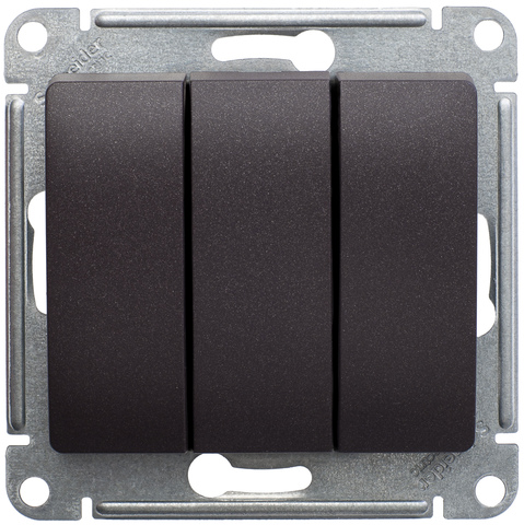 Выключатель трехклавишный, 10АХ. Цвет Шоколад. Schneider Electric Glossa. GSL000831