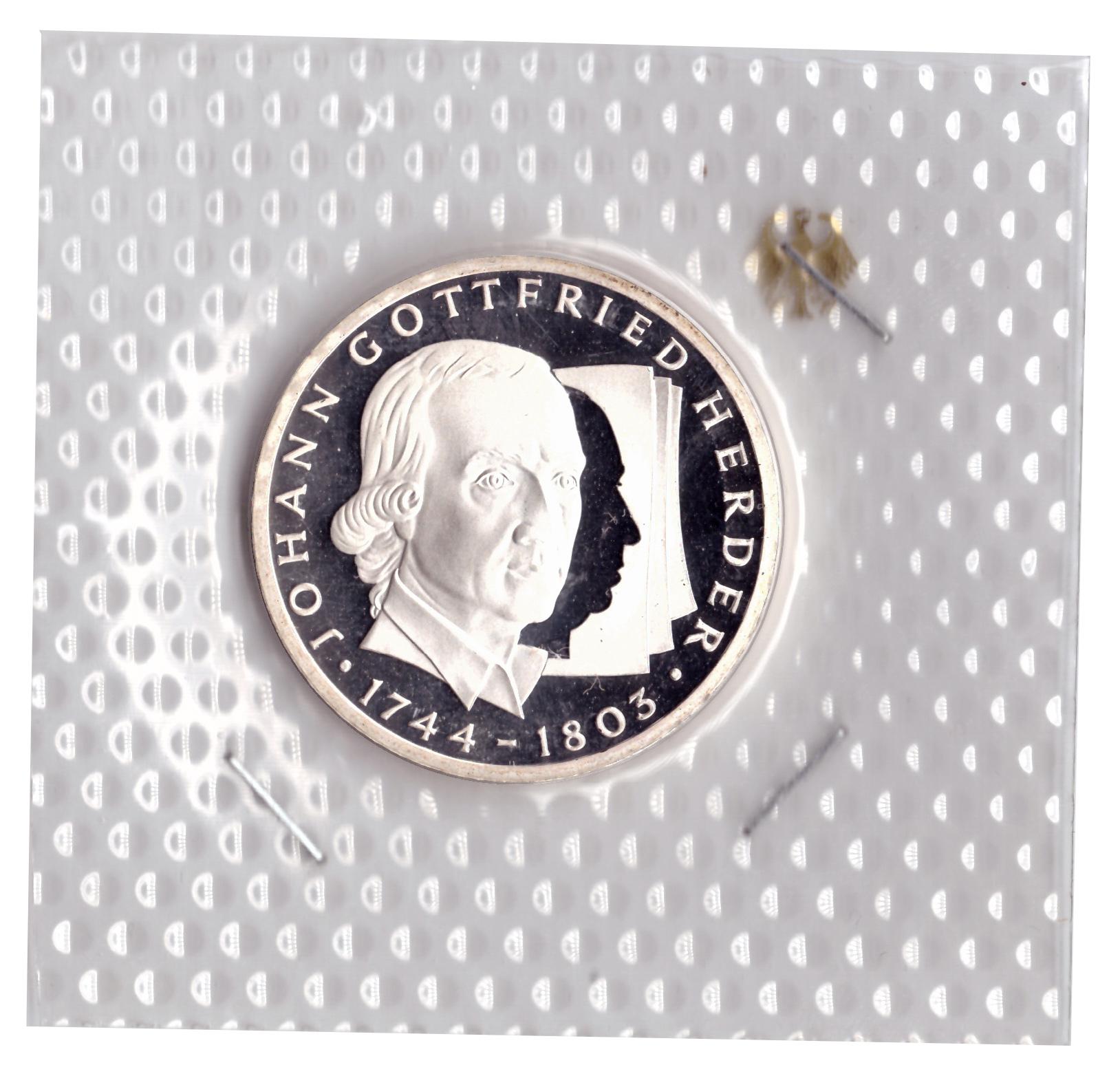 10 марок 1994 год (G) 250 лет со дня рождения Иоганна Готфрида Гердера, Германия. PROOF в родной запайке