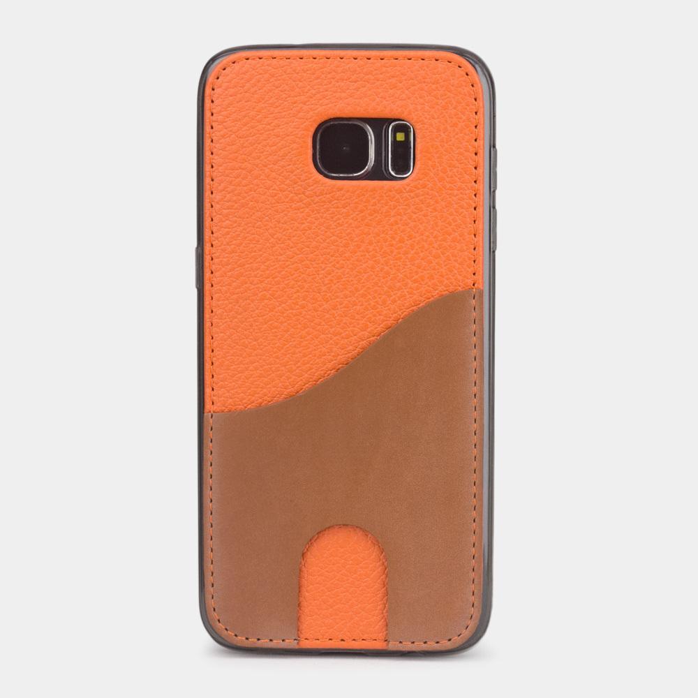 Чехол-накладка Andre для Samsung S7 edge из натуральной кожи теленка, оранжевого цвета