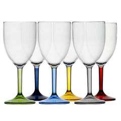 WATER/WINE GLASS -COLOURED BASE, PARTY 6 UN