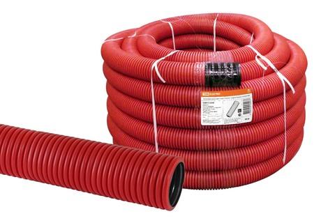 Труба гофрированная двустенная ПНД d 40 с зондом (50 м/уп.) красная TDM