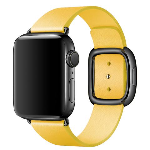 Ремешок Apple watch 42mm Modern Buckle Leather black /yellow/