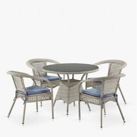 Комплект плетеной мебели Лион-1C T220CT/Y32-W85 Latte 4Pcs (4+1)