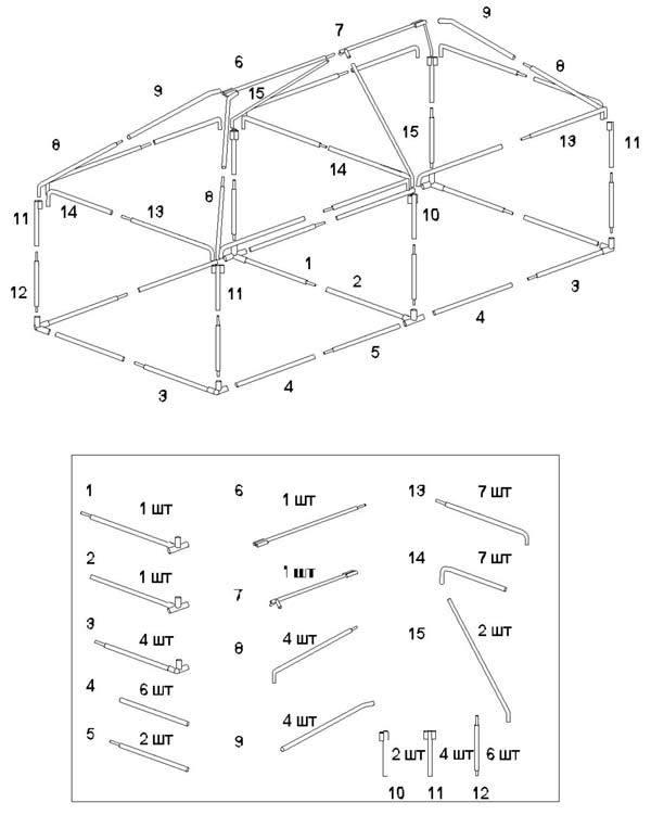 Схема сборки шатра-беседки Митек 2,5 х 5,0 Ø 18 мм