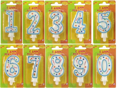 Свеча Цифра голубое конфетти в ассортименте