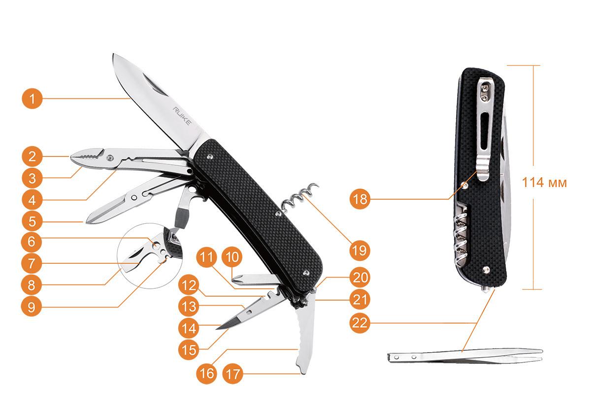 Нож Ruike L41-G, 22 функции, зеленый