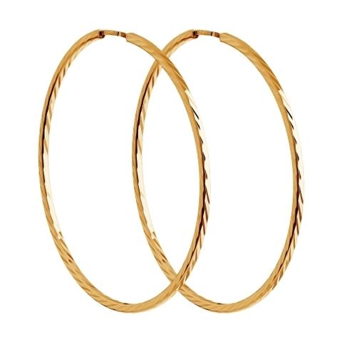 140066 - Серьги-конго с алмазной гранью Ø 15 мм из золота