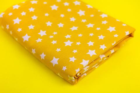 Тканина бавовна, Let's make відріз 30x40 см. Малюнок - білі зірочки на жовтому 310677202