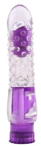 Фиолетовый вибратор Pleaser с шишечками - 16,2 см.