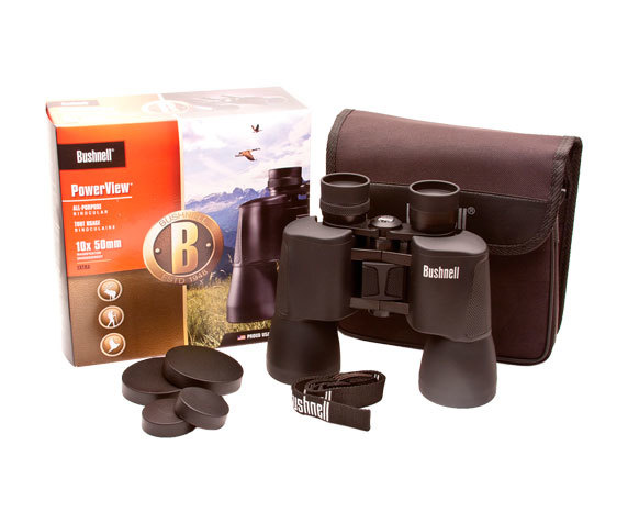 Комплект поставки: бинокль PowerView 10 50, ремень, крышки окуляров и объективов.