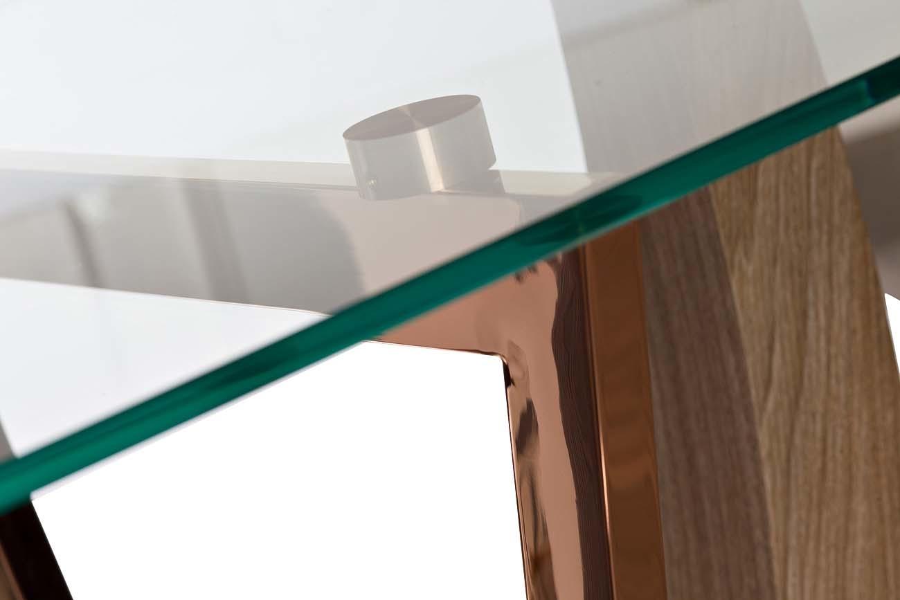 30F-907 Стол обеденный со стеклом бежевый 171*100*76см