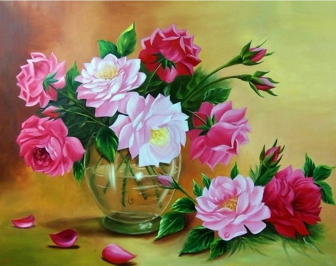 Алмазная Мозаика 20x30 Цветы из сада в прозрачной вазе