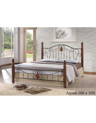 Кровать Агнес двуспальная металлическая с деревянными ножками 160х200 темный орех