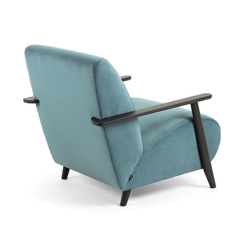 Кресло Marthan бирюзовый бархат подлокотники черные