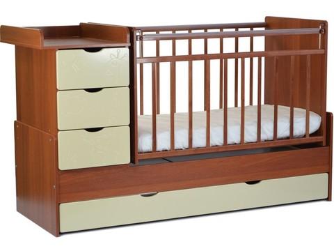 Кровать детская СКВ-5 Жираф, опуск.бок.,маятник,4 ящика. (орех+ясень крем)