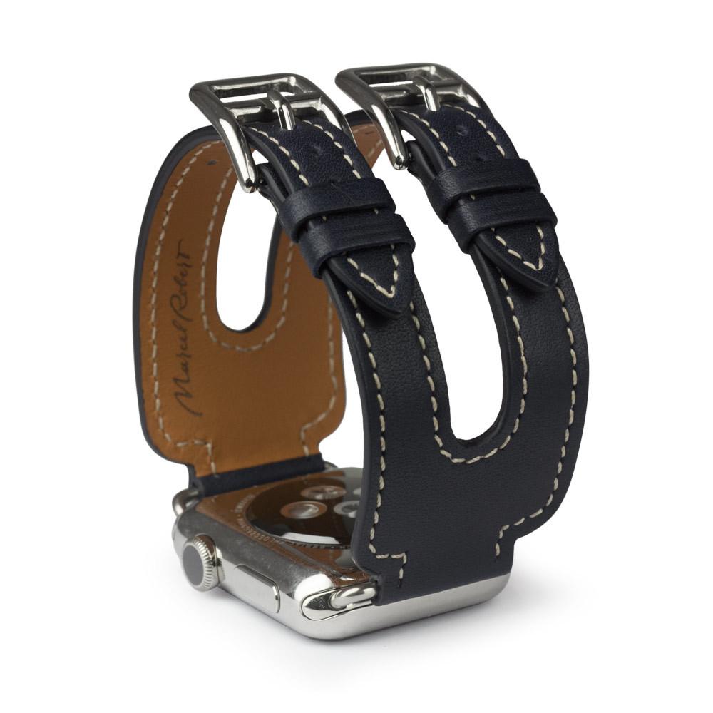 Ремешок для Apple Watch 38мм ST Double Buckle из натуральной кожи теленка, темно-синего цвета