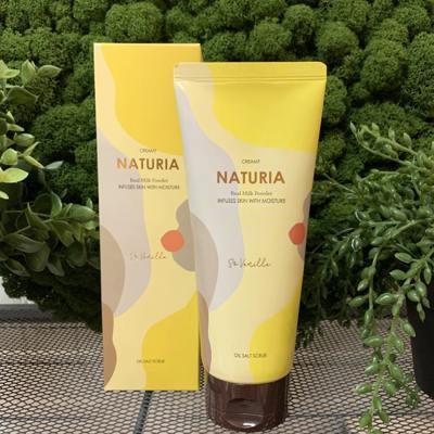 Солевой скраб для глубокого очищения и выравнивания кожи тела с ароматом ванили Evas Naturia Creamy Oil Salt Scrub So Vanilla