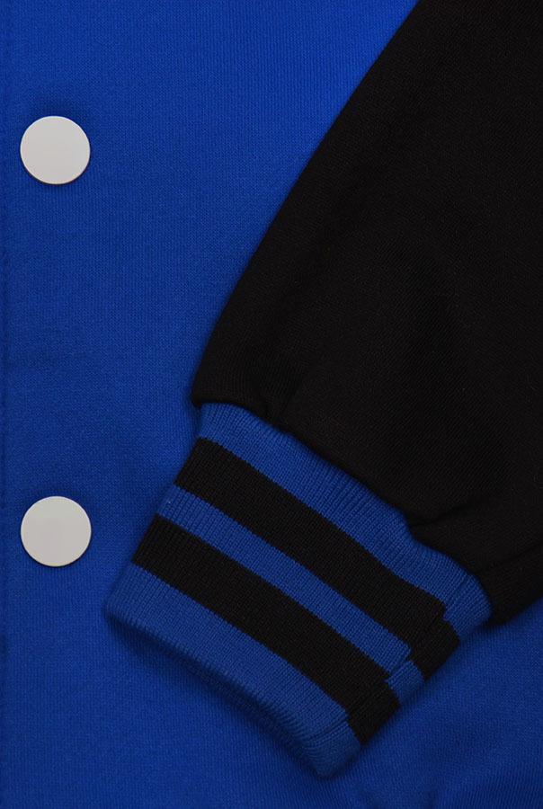Бомбер синий с черным фото рукав