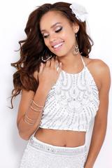 White collection 110034 Белое платье кроп-топ, топ декорирован камнями и вышивкой, юбка с завышенной талией, длинна в пол