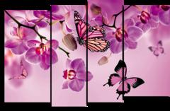 """Модульная картина """"Орхидея и бабочка"""""""