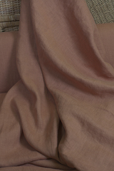 Ткань льняная, с эффектом мятости, цвет: светлый-терракотовый