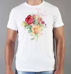 Футболка с принтом Цветы (Розы) белая 0023