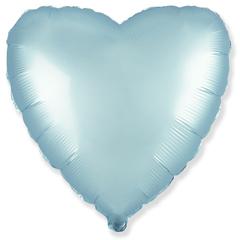 Шар сердце сатин голубой