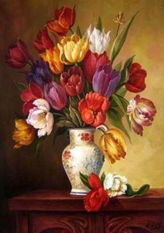 Картина раскраска по номерам 40x50 Тюльпаны в вазе (арт. Y5389)