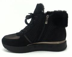 Черные кроссовки из натуральной кожи