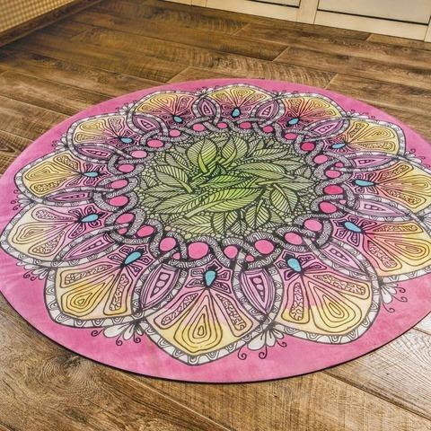 Коврик для йоги и медитации Листва из замши и каучука 140*140 см