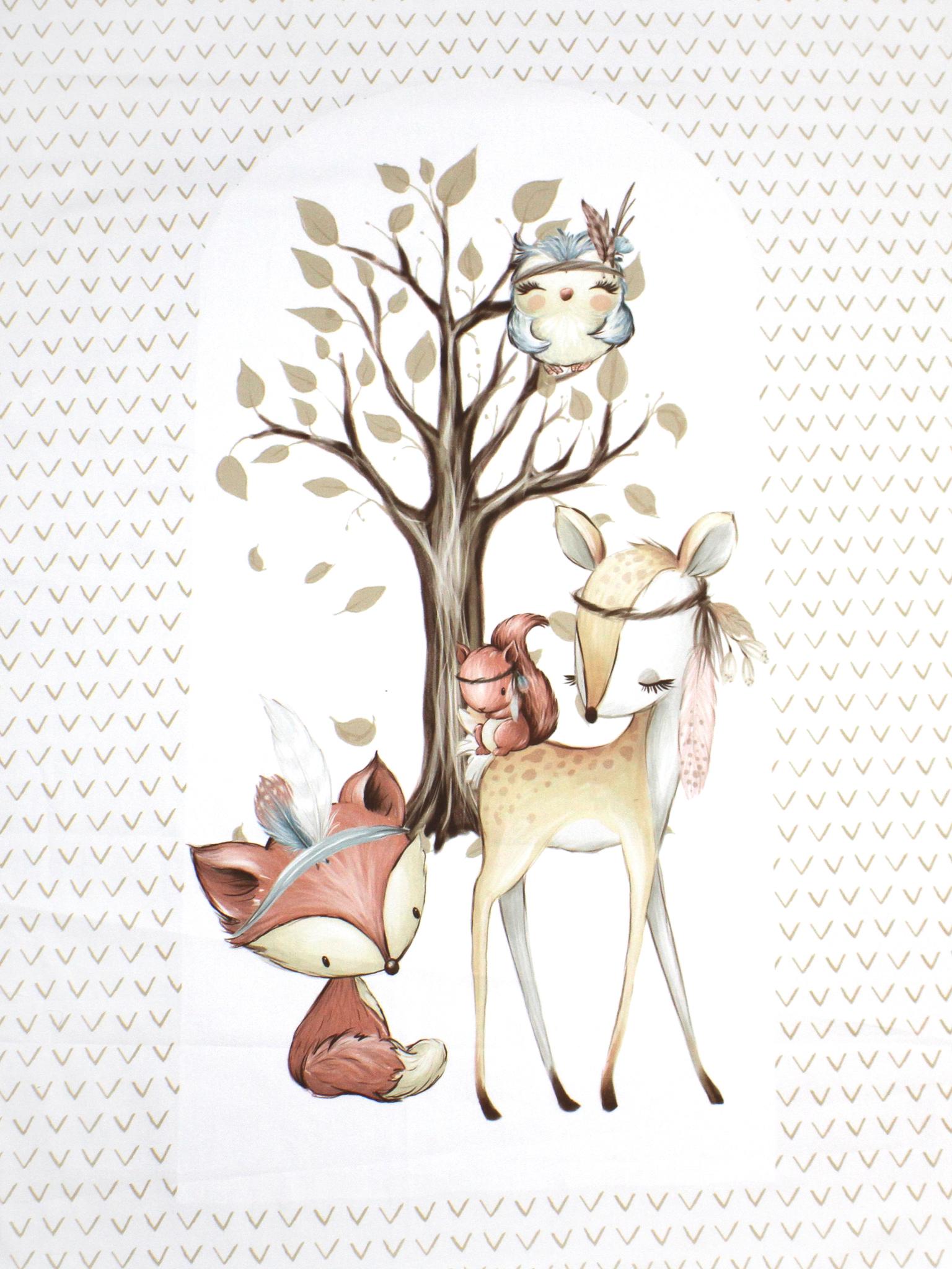 Панель(купон) звери-индейцы-олень,белка,сова,лиса(гнездо)-72*103 см