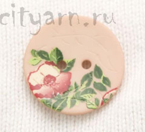 Пуговица с цветком шиповника, нежно-розовая, 28 мм
