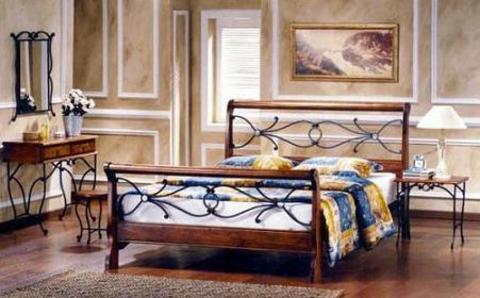 Кровать АМБЕР двуспальная металлическая с деревянными ножками 160х200 майер браун
