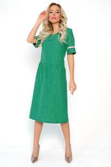 <p>Летнее платье из льна по праву можно назвать самой комфортной одеждой для жаркого лета! Платье свободного кроя, отрезное по линии талии, с оборкой. Функциональные карманы. Рукав до локтя с модным лампасом.<span>(Длины: 46-109см; 48-110см; 50-110см; 52-111см; 54-112см) Внимание! Цвет лампаса может быть изменен.&nbsp;</span></p>