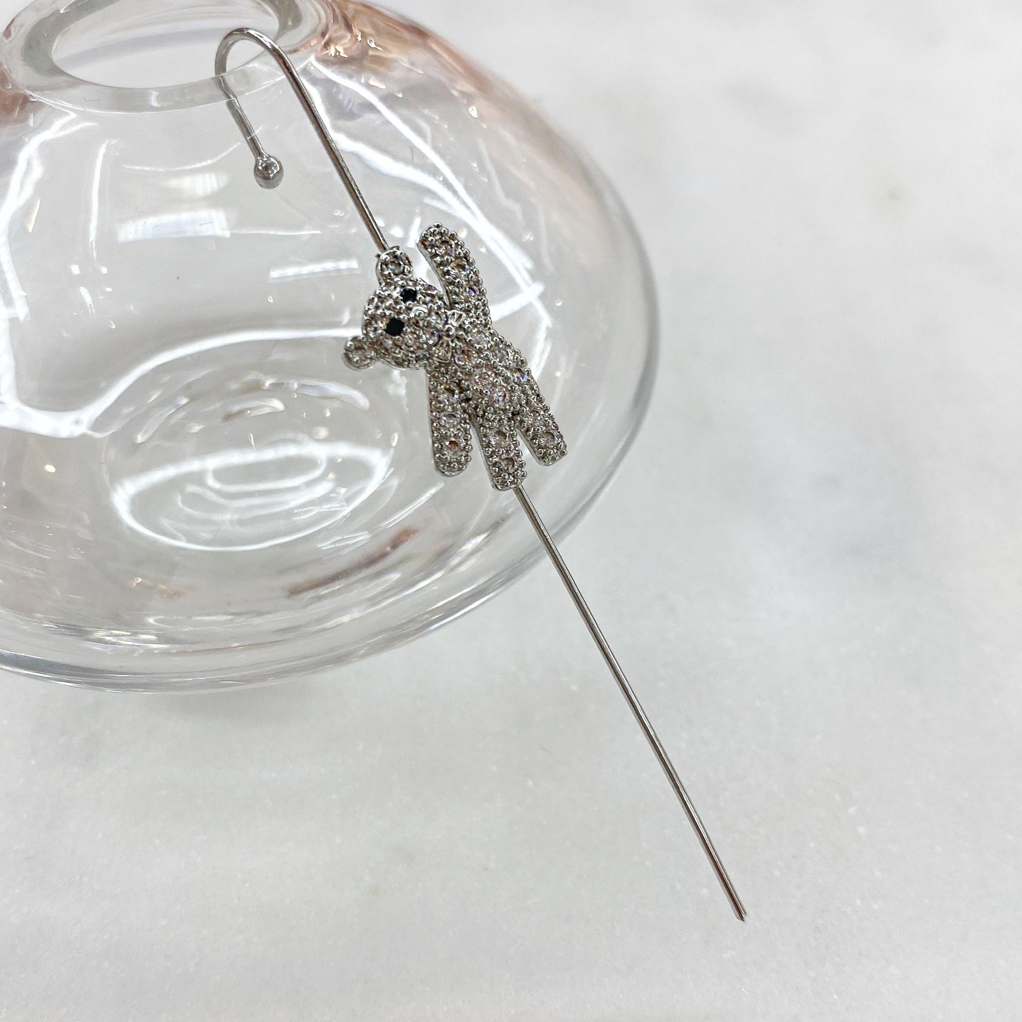 Кафф-спица Мишка с цирконами (серебристый)