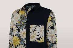 Блузка Elite 7641 комбинированная цветы