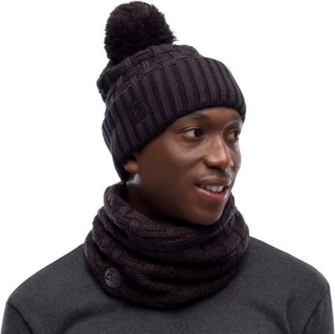 Комплект шарф-шапка вязаный с флисом Buff Airon black фото 1