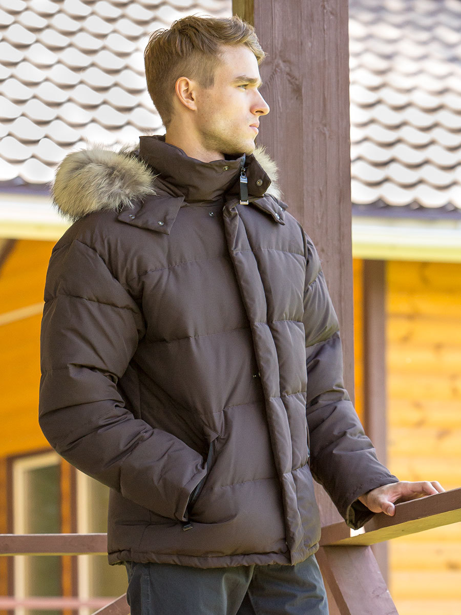 Joutsen пуховик Frost с мехом коричневый