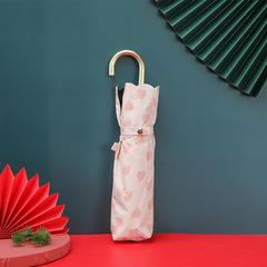 Суперлегкий зонт, ручка крюк, женский, с защитой от УФ, механика, 6 спиц (белый, сердечки)