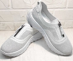 Кожаные кроссовки сникерсы женские летние Wollen P029-259-02 All White.