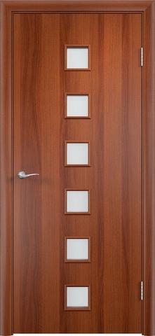 Дверь Сибирь Профиль Квадрат (С-9), цвет итальянский орех, остекленная