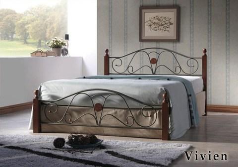 Кровать Вивьен двуспальная металлическая с деревянными ножками 140х200 темный орех