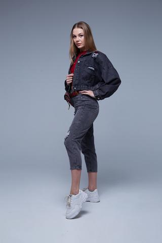 Черная короткая джинсовая куртка оптом