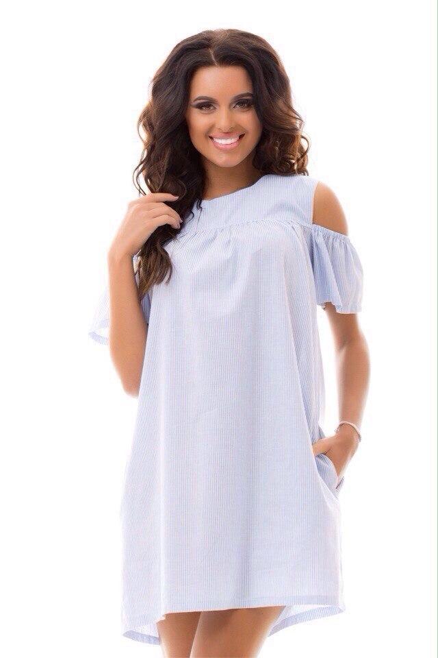 Летнее короткое платье в голубую полоску